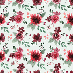 Seamless Watercolor Pattern with Red Maroon Peonies and Roses