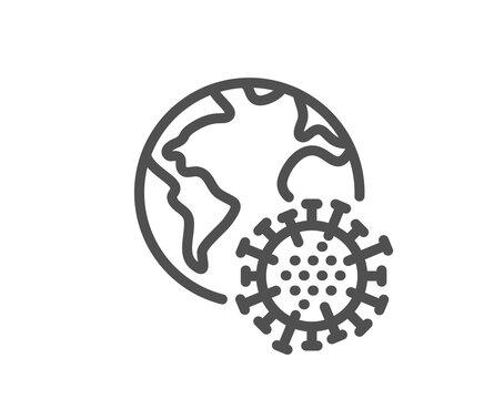 Coronavirus pandemic line icon. Covid virus sign. Global infection symbol. Quality design element. Linear style coronavirus pandemic icon. Editable stroke. Vector