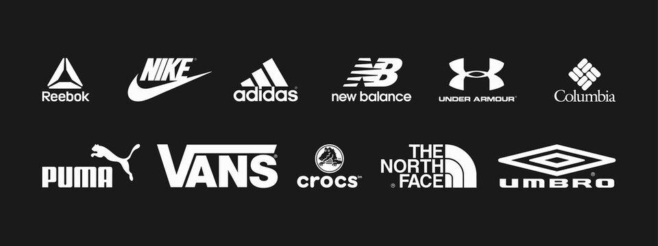 Vector logos of popular sportswear brands. Nike, Adidas, Under Armour, Puma, The North Face. Vector illustration