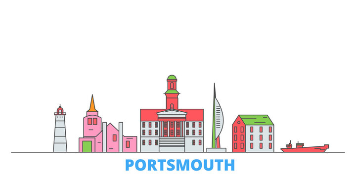 United Kingdom, Portsmouth cityscape line vector. Travel flat city landmark, oultine illustration, line world icons