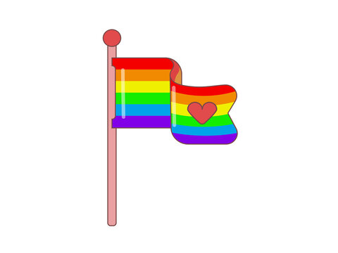Cute flag with symbols of the LGBT movement. Image in jpeg format.
