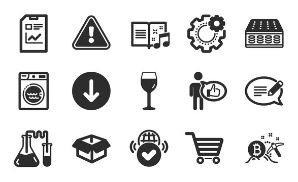 Like, Laundry and Music book icons simple set. Bitcoin mining, Chemistry lab and Scroll down signs. Message, Market sale and Report document symbols. Wine glass, Mattress and Opened box. Vector