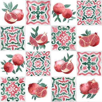 Pomegranates seamless pattern. Tile ornament for packaging. Watercolor print painted on paper. Grunge texture.