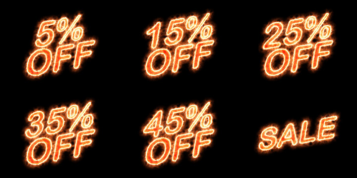 Discount sale tag with fire effect. 5, 15, 25, 35, 45 percent off. Fiery text, blazing heat, red hot burning concept. Black background for easy blending. For online business or traditional store.