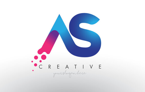 AS Letter Design with Creative Dots Bubble Circles and Blue Pink Colors