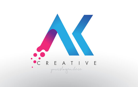AK Letter Design with Creative Dots Bubble Circles and Blue Pink Colors