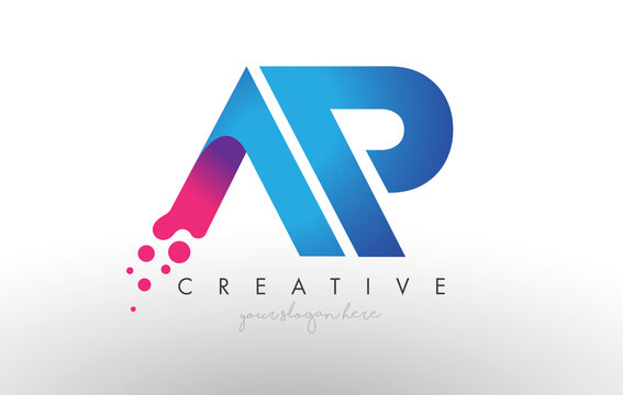 AP Letter Design with Creative Dots Bubble Circles and Blue Pink Colors