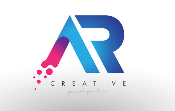 AR Letter Design with Creative Dots Bubble Circles and Blue Pink Colors