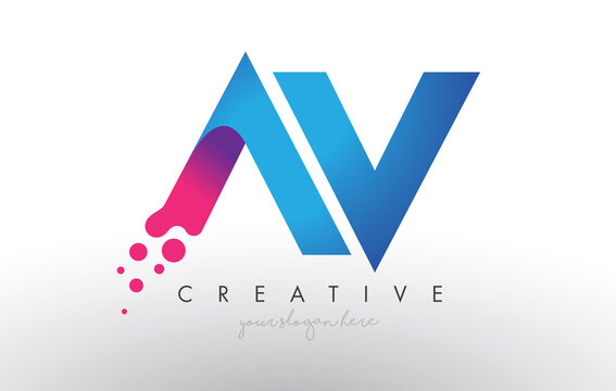 AV Letter Design with Creative Dots Bubble Circles and Blue Pink Colors