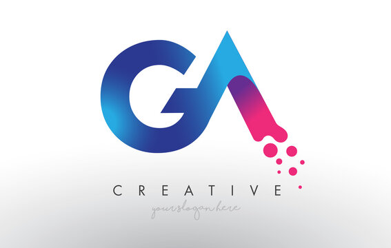 GA Letter Design with Creative Dots Bubble Circles and Blue Pink Colors