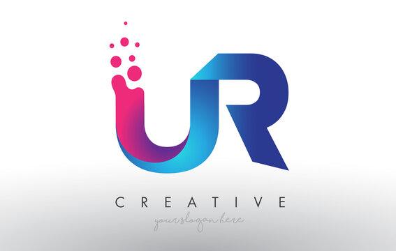 UR Letter Design with Creative Dots Bubble Circles and Blue Pink Colors Vector Illustration.