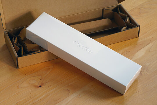 PRINCETON, NJ -17 NOV 2020- View of the unboxing of a new Apple Watch 6 from Apple in November 2020.