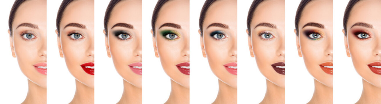 Collage different types of makeup on one woman's face close-up. Set, variations of trendy make-up for a woman with grey eyes