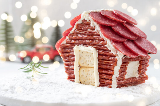 charcuterie chalet house for a christmas party