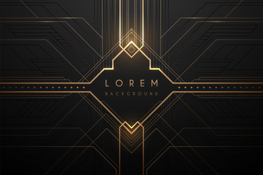Abstract gold and black luxury frame template