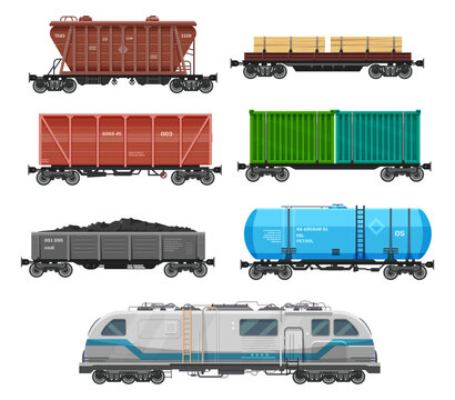 Train freight wagons, cargo box car containers, vector rail locomotive. Train freight wagons and boxcar, railroad goods shipping flatbed, and railway carriage with coal, timber and petrol tank cistern
