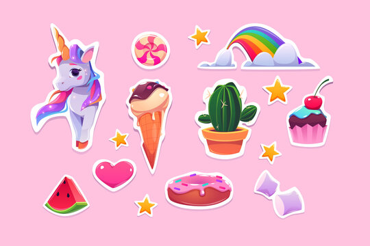 Cute stickers for girls cartoon unicorn, ice cream, rainbow and pink heart, watermelon slice, stars, cupcake and donut with marshmallow, candy and cactus in pot Cartoon vector illustration, icons set