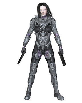 Future Female Soldier in Hi-Tech Armour, 3d digitally rendered science fiction illustration