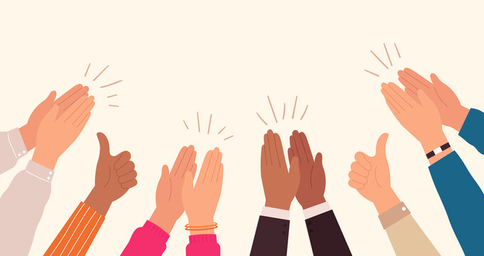 Human hands clapping. People crowd applaud to congratulate success job. Hand thumbs up. Business team cheering and ovation vector concept. Illustration support celebration, appreciation friendship