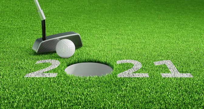 Golfball beim Putten 2021