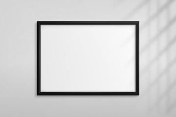 Fototapeta Mockup black frame photo. Shadow on wall. Mock up artwork picture framed. Horizontal boarder. Empty board a4 photoframe. Modern stylish 3d border for design prints poster, painting image. Vector