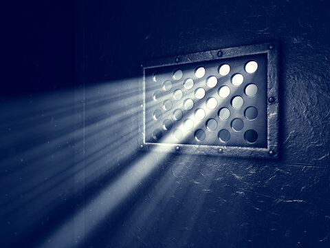 Light coming through prison cell window, Dark metal grunge door background