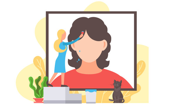 Beautiful artist young girl painting portrait of brunette woman, drawing is a favorite hobby. Cat viewer watching the work of the designer. Creative female person painting a big picture on the wall