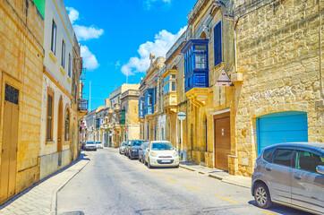 The narrow lane in Mosta, Malta