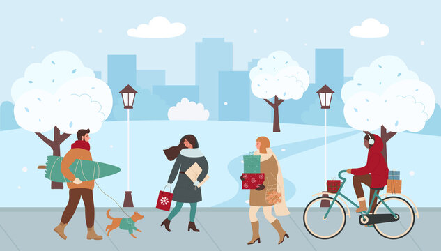 People walk on Christmas city street vector illustration. Cartoon man woman characters hurrying for Christmas market sale, xmas shopping, holding box gifts for winter holidays celebration background