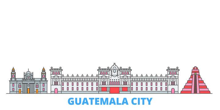 Guatemala, Guatemala City cityscape line vector. Travel flat city landmark, oultine illustration, line world icons