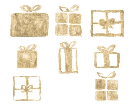Watercolor Paint Christmas Ornaments Gifts, Presents Gold Metallic Elegant Handmade Bush