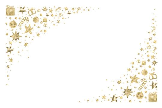 Watercolor Paint Christmas card frame gold Metallic Elegant handmade painting bush