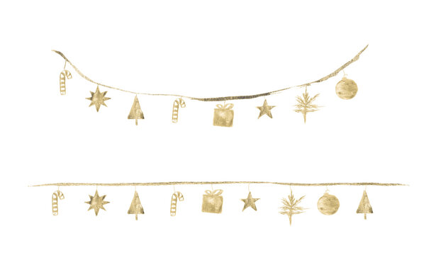 Watercolor Paint Christmas Ornaments Decoration Lights Gold Metallic Elegant handmade painting bush