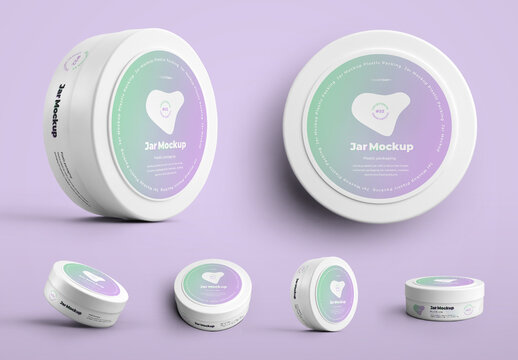 6 Plastic Jar Mockups for Cosmetic Products
