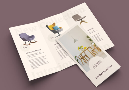 Product Trifold Brochure Layout with Pale Beige Accents