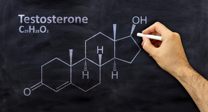 Testosterone structural chemical formula, chalk drawing on a blackboard
