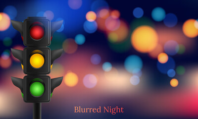 Realistic traffic lights with all three colors Fotomurales