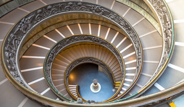 The famous spiral staircase in Vatica Museum - Rome, Italy