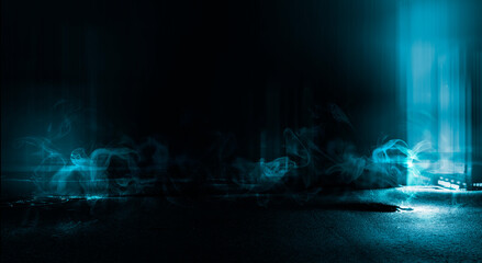 Fotomurales - Dark street, neon light, smoke. Abstract dark background with neon glow, Wet asphalt, reflection on the water. Neon Rays and Lines.