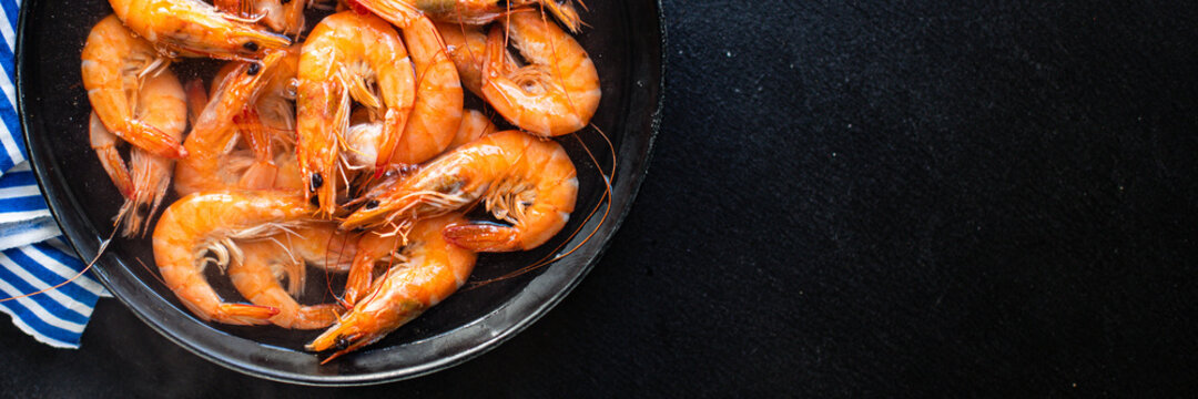 fresh shrimp seafood cooked prawn  ready to eat serving on plate healthy meal snack top view copy space for text food background rustic