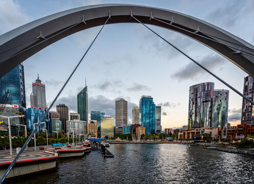 View of Elizabeth Quay and Perth CBD from the Elizabeth Quay Bridge at sunset in Perth, WA, Australia on 22 October 2019