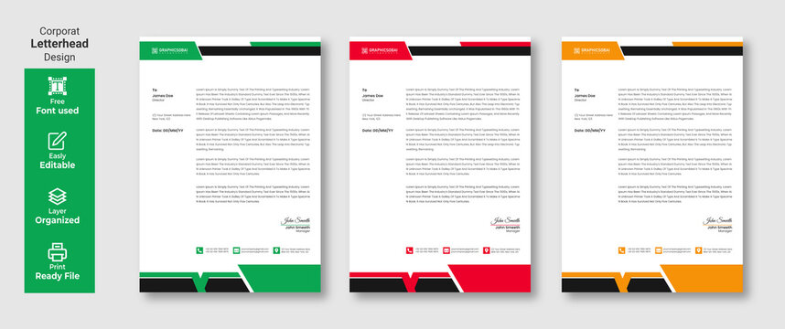 Modern Creative & Clean business style letterhead design template in flat style print with vector & illustration