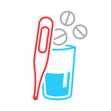 Multicolored icon of a thermometer and a glass with a medicine. Simple linear image of pills flying into a glass of water and a thermometer to measure temperature. Isolated vector on white background.