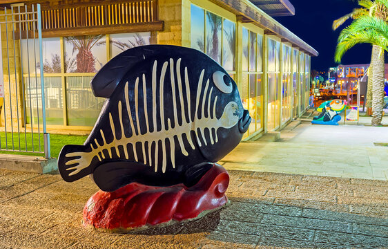 The fish's skeleton pattern on sculpture, on Feb 23, 2016 in Eilat, Israel