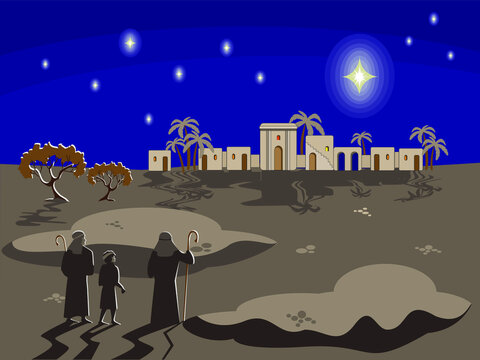 Christmas biblical scene with shepherds standing in historical costumes at night and looking at a star over the city of Bethlehem, palms, figs and stars against the dark sky. Greeting card, banner.