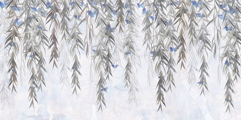 Photo wallpaper, wallpaper, mural design in the loft, classic, modern style. Willow branches with butterflies on a gray concrete grunge wall.