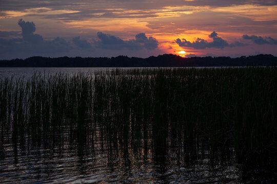 Sun Setting Over Lake Tarpon, Florida