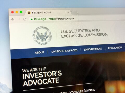 Washington, D.C., U.S. - June 24, 2018: Website of The U.S. Securities and Exchange Commission or SEC, an independent agency of the United States federal government