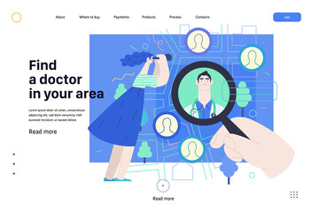 Find a doctor -medical insurance web page template -modern flat vector concept digital illustration -hand with a magnifying glass, woman with binocular, doctors portraits - a doctor searching metaphor