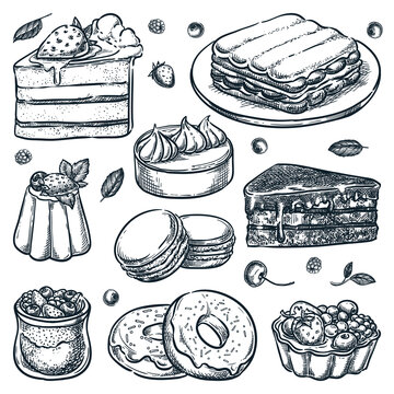 Sliced cakes collection. Vector hand drawn sketch illustration. Desserts icons and cafe design elements
